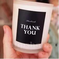 Etichete autoadezive negre Thank You Handmade 10buc.